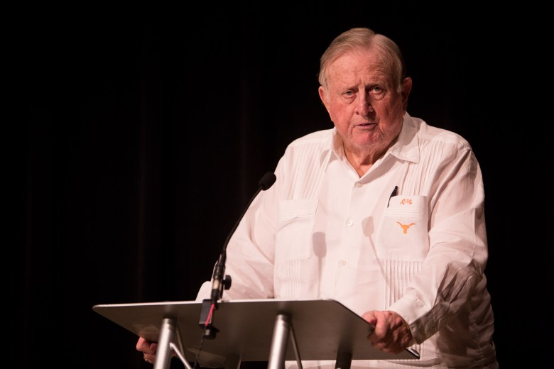Red McCombs speaks about automated vehicles at a McCombs School San Antonio Alumni Chapter panel.