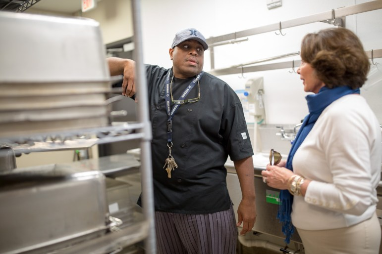 Haven for Hope Courtyard Executive Chef Lorris Gibson gives Patricia Barnes of Sister Schubert's a tour of his newly updated kitchen.