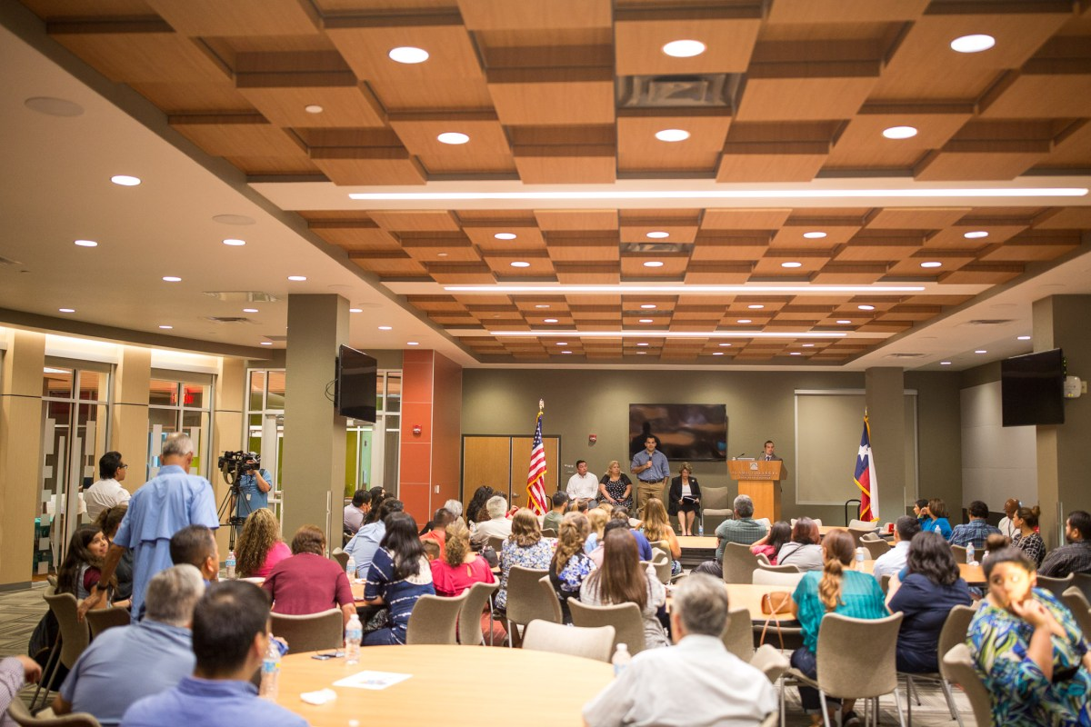 Community members from the South San Independent School District attend a public meeting to hear candidates for seats on the South San ISD Board at Palo Alto College on Thursday October, 13 2016.