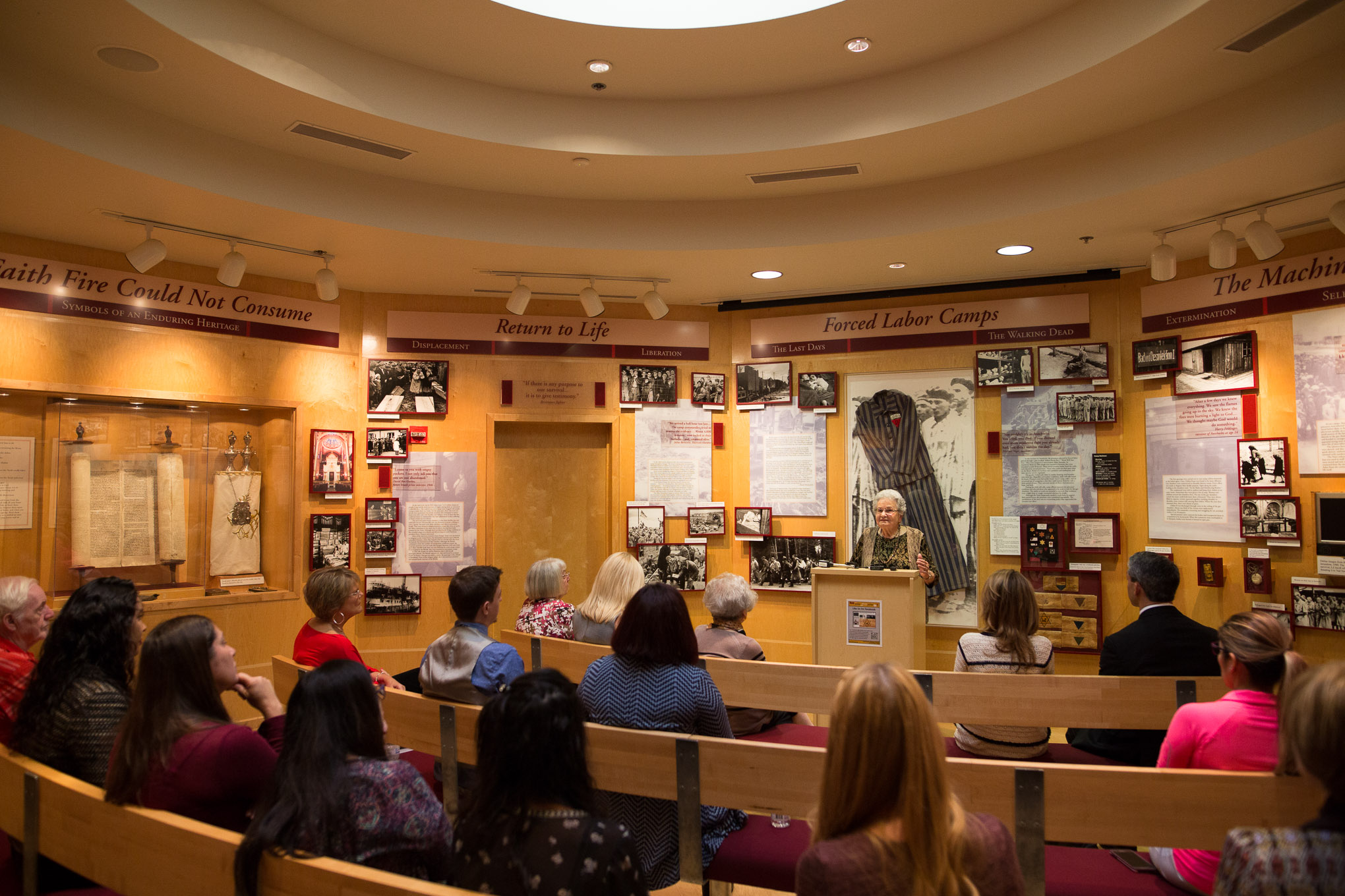 Holocaust survivor Anna Rado speaks to members of the press announcement in the Holocaust Memorial Museum.