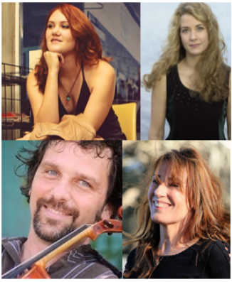 Grace Pettis, Kim Miller & Karen Mal with Will Taylor & Strings Attached perform together on Nov 11 at Wimberley Alive!