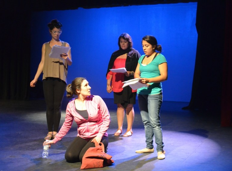 Actresses rehearse their lines for Teatro Salon.