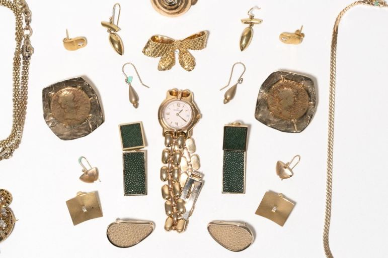 A variety of vintage gold jewelry belonging to Linda Pace.