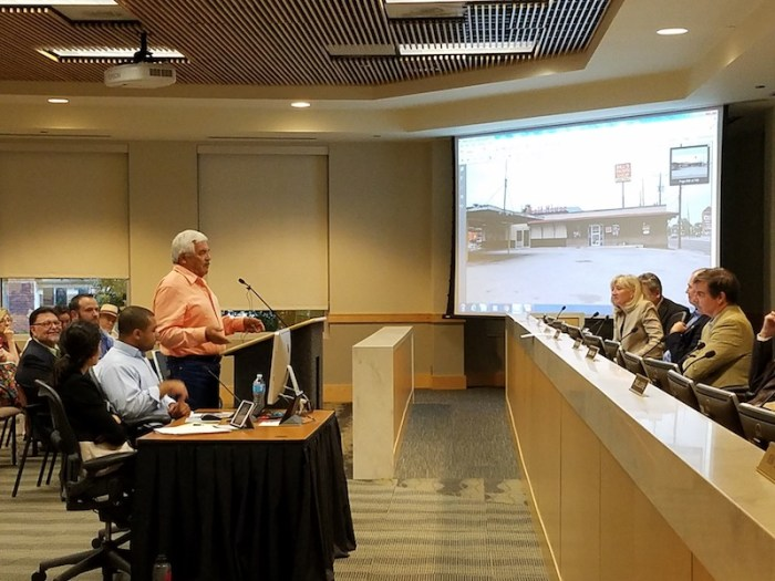 Malt House owner Baldemar Gonzalez asks the Historic and Design Review Commission to approve 7 Eleven's request to demolish the restaurant.  Photo by Iris Dimmick.