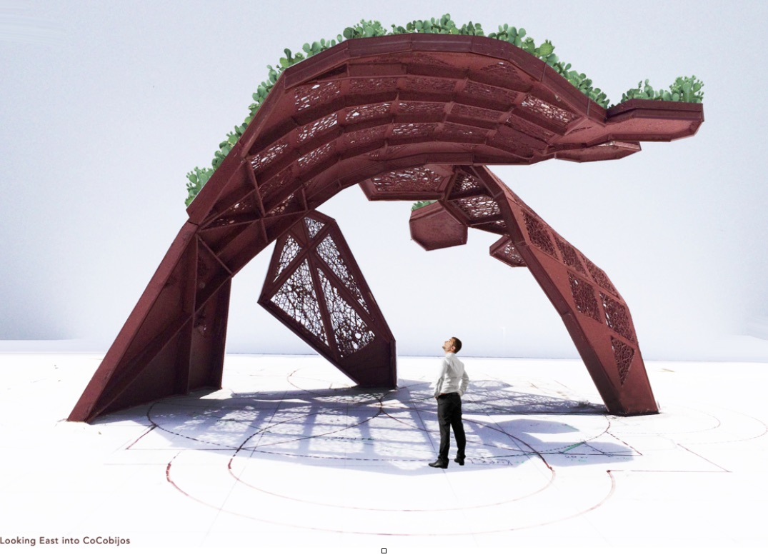A rendering of CoCobijos, an art installation to be located on the Mission Reach near Mission County Park Pavilions.