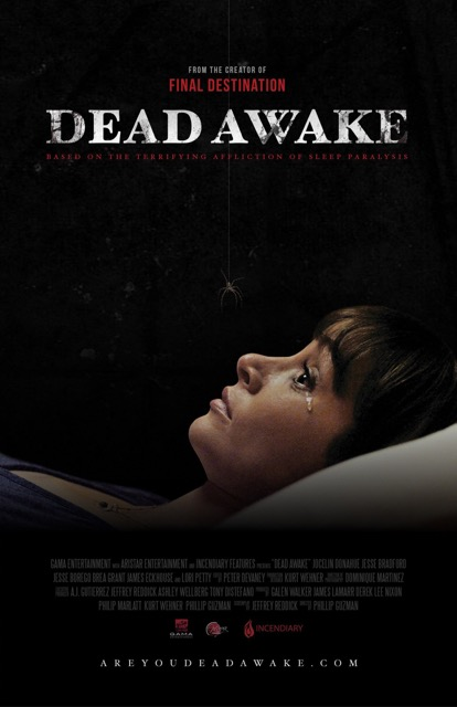 Dead Awake (2016) is about a young woman who must save herself and her friends from an ancient evil that stalks its victims through the real-life phenomenon of sleep paralysis.