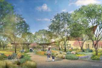 A rendering of a distant view of the interior courtyard of the new center.