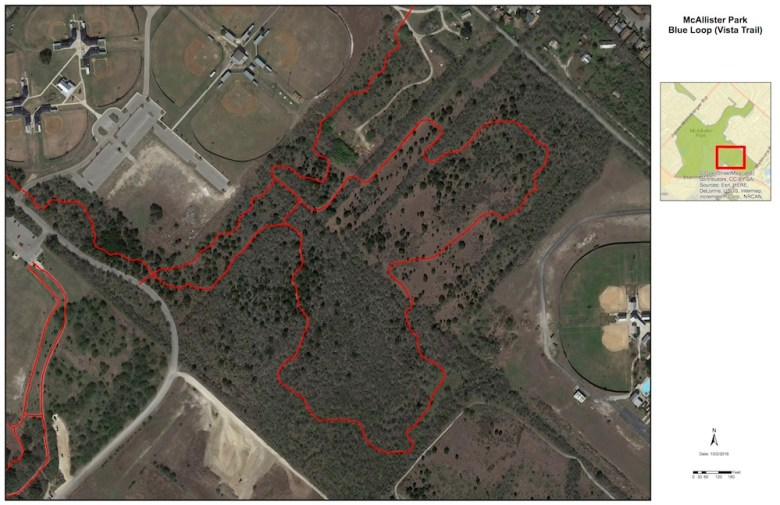 A baseball field for Capitol Park Little League is proposed to replace the Blue Loop (Vista Trail).