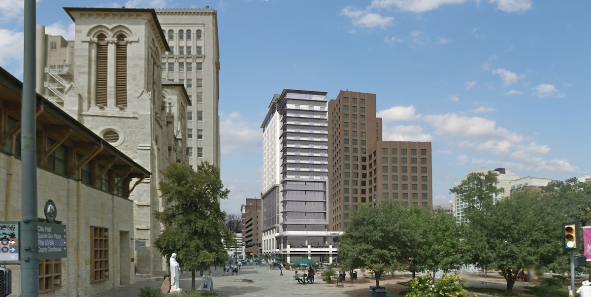 A rendering of the 18-story office and hotel tower as seen from across Main Plaza. Image courtesy of JRK Design.