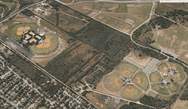 A baseball field for Capitol Park Little League is proposed to replace the Blue Loop (Vista Trail). Photo from Apple Maps.