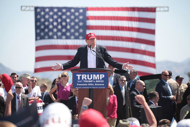 Republican presidential nominee Donald Trump speaks at a rally in Arizona earlier this year. Photo by Gage Skidmore via Flickr.