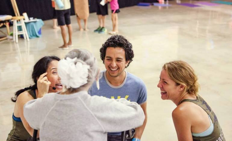 Esther Vexler shares a laugh with (from left) Nydia Darby, Carlos Gomez, and Kristen Baggett.