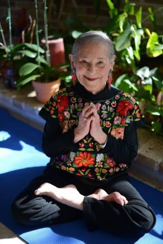 Esther Vexler sits in Padmasana.