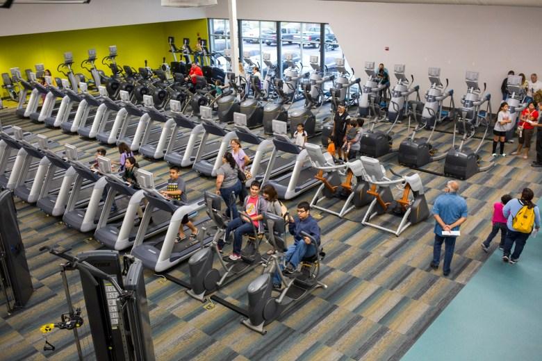 Running machines at Mays Family YMCA at Potranco. Photo by Kathryn Boyd-Batstone.