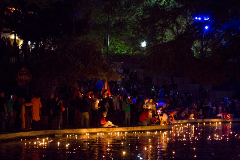 Hundreds of Diyas, or floating candles, light up the San Antonio River.
