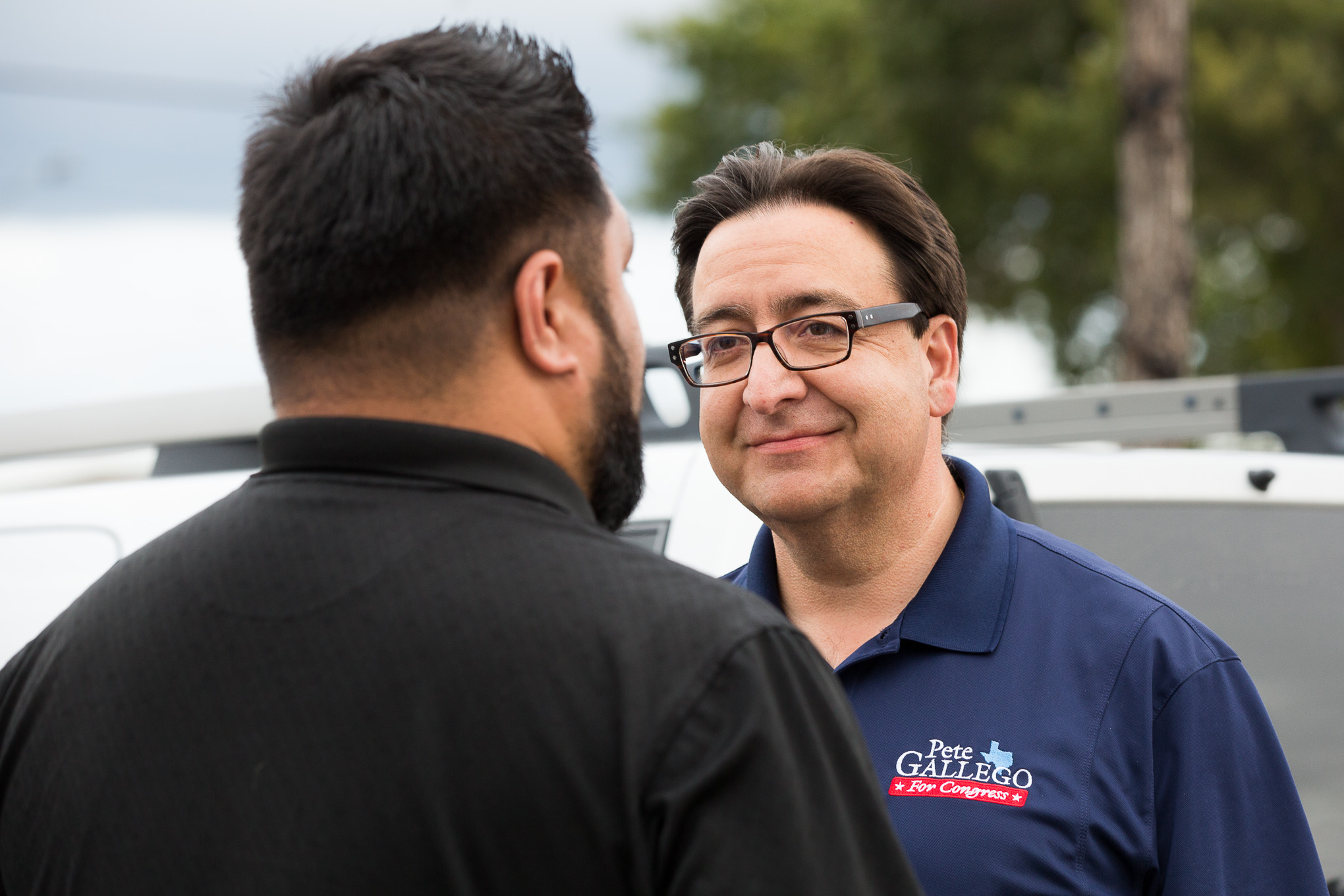 United States Representative, TX 23rd District, Pete Gallego speaks with a vote at Pease Middle School.