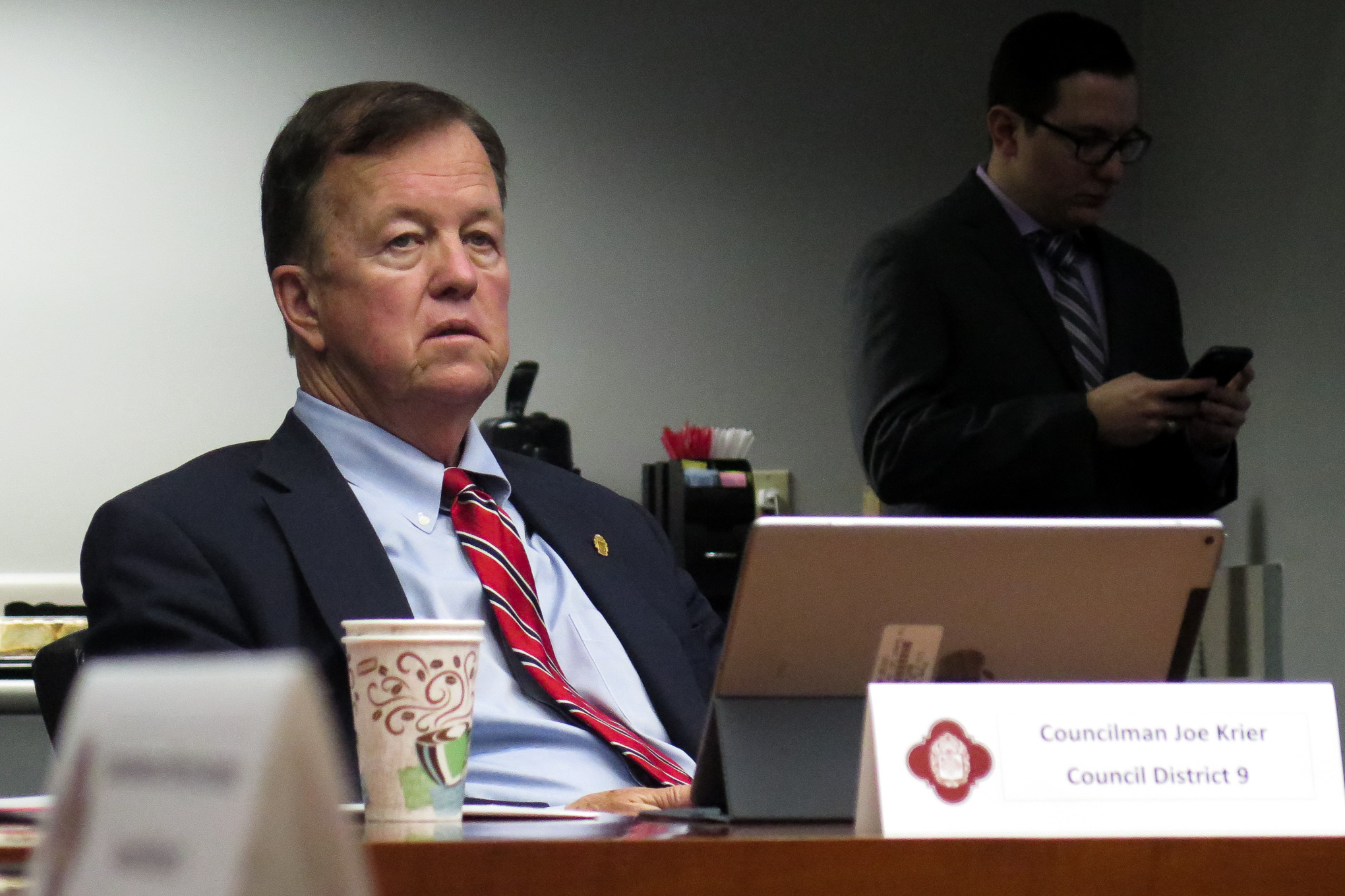 Councilman Joe Krier (D9) listens to a presentation about SAWS initiatives during a Transportation, Technology and Utilities Committee meeting.