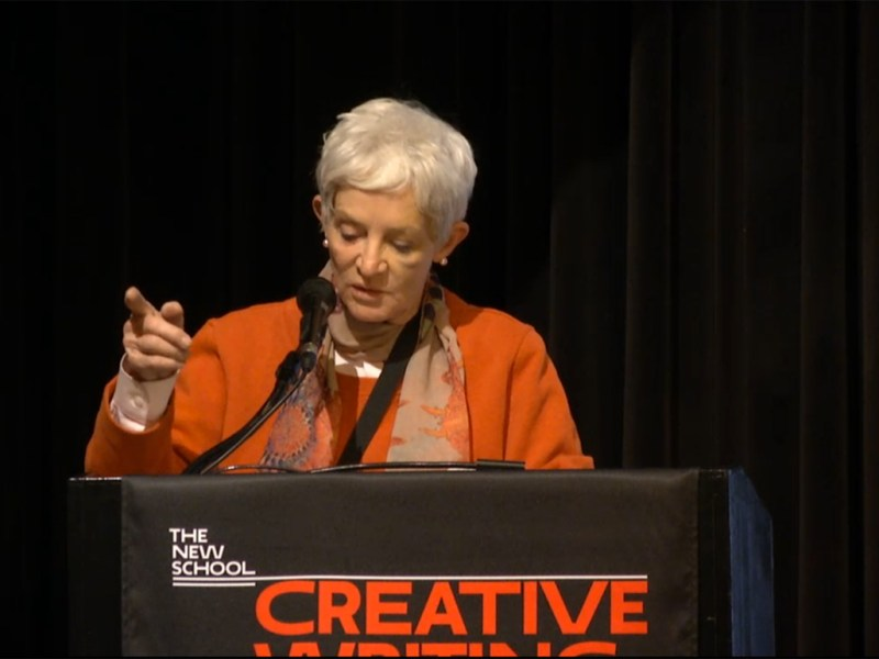 """Local writer Paulette Jiles reads a section of her novel, """"News of the World"""", at The New School in New York for a National Book Awards Finalist reading."""