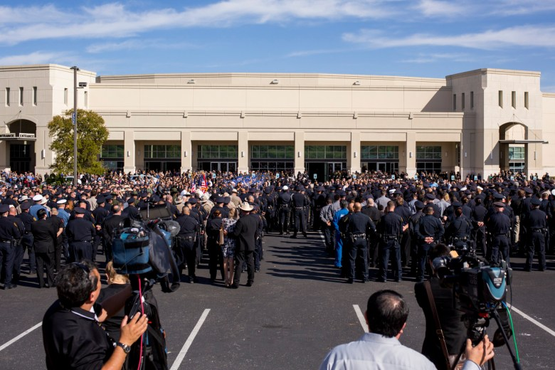 Thousands of people gathered at Community Bible Church for Detective Marconi's funeral.