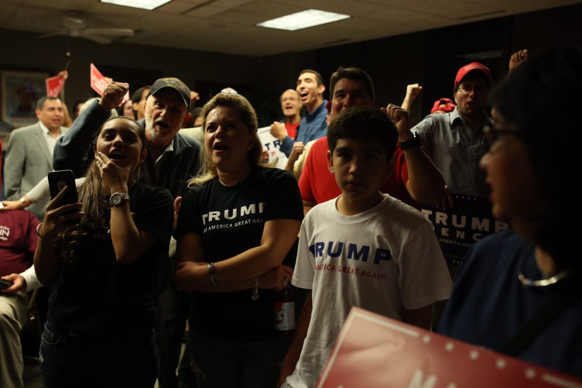 Vanessa (center) and her daughter Wynter, 15, cheer as Donald Trump gains momentum in the 2016 presidential election.Vanessa (center) and her daughter Wynter, 15, cheer as Donald Trump gains momentum in the 2016 presidential election.