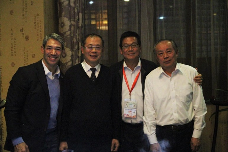 From left: Councilman Ron Nirenberg (D8), Sun Zhiliang (Wuxi Senior Urban Planner), Ryan Hou (Deputy Mayor of Columbus, Ind.), and Chen Jianming (Vice Secretary-General of Wuxi Municipal Committee of the CPPCC) pose for a photo.