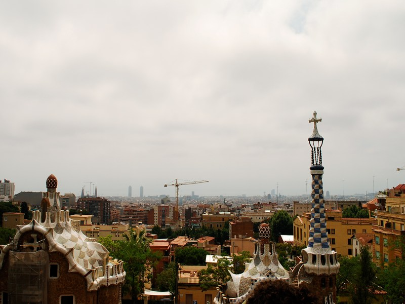 The view from Antoni Gaudí's Parc Güell in Barcelona, Spain.