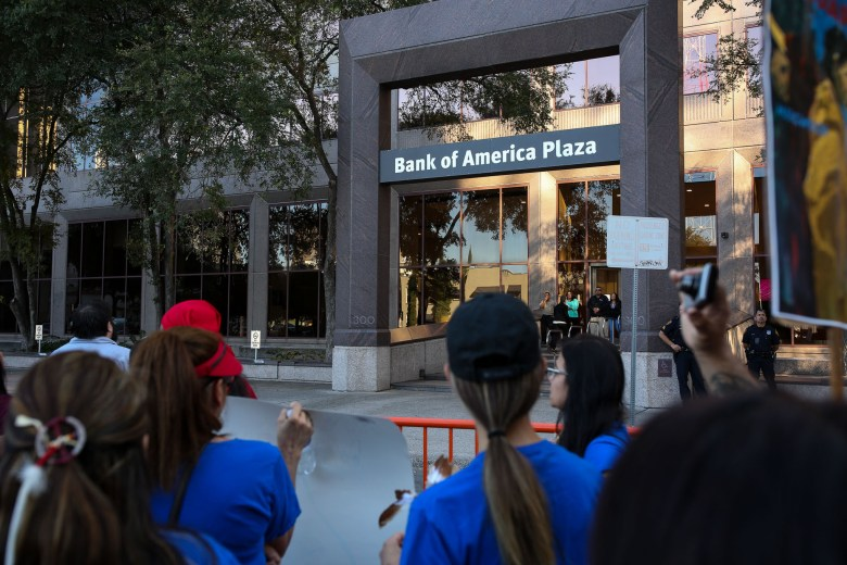 Protestors gather in front of the Bank of America Plaza, whom is one of the main funders of the Dakota Access Pipeline.