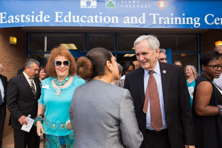 U.S. Congressman Lloyd Doggett (35th District) greets fellow attendees during the opening of the Eastside Education and Training Center.