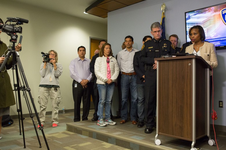 Mayor Ivy Taylor addresses the media during a press conference following the death of San Antonio Police Department Officer Benjamin Marconi.