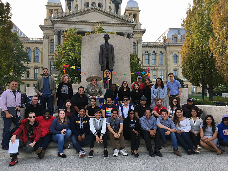 St. Mary's students, faculty, colleagues and supporters at the Illinois State Capitol, where they build a Day of the Dead altar to Abraham Lincoln and publicly told how he was a champion for Mexico, Mexicans and Mexican-Americans.