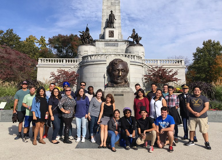 The St. Mary's University student/faculty group visiting Lincoln's tomb.