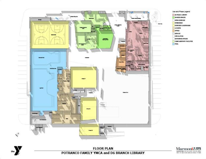 Floorplan of the new Potranco Branch Library and Mays Family YMCA.