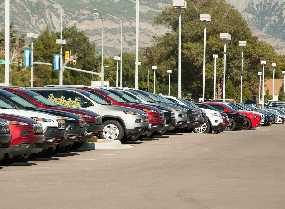 A car dealership lot.