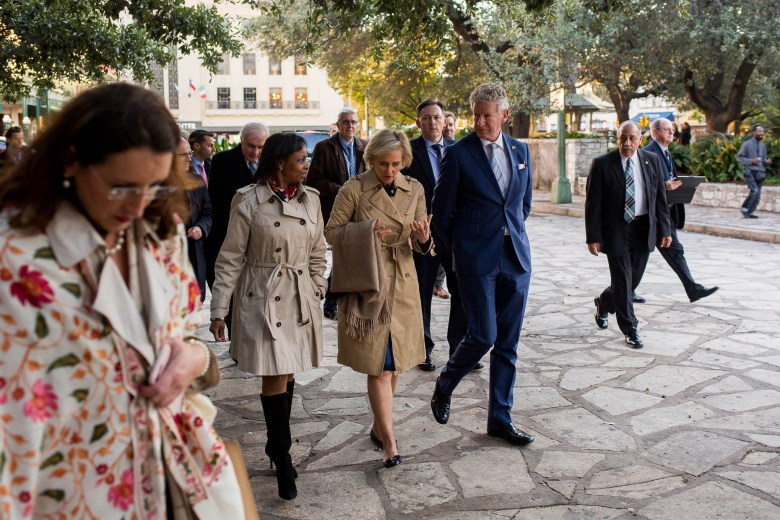 From left: Mayor Ivy Taylor and Her Royal Highness Princess Astrid of Belgium and His Excellency Pieter De Crem talk as they walk to the Alamo.