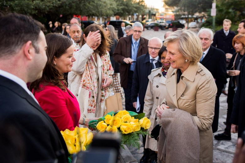 Director of the Alamo Becky Dinnin gives Her Royal Highness Princess Astrid of Belgium flowers.