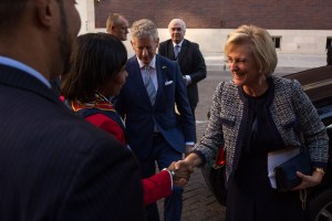 Her Royal Highness Princess Astrid of Belgium and His Excellency Pieter De Crem greet Mayor Ivy Taylor.