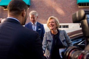 Her Royal Highness Princess Astrid of Belgium and His Excellency Pieter De Crem are greeted by Bexar County Precinct 4 Commissioner Tommy Calvert.