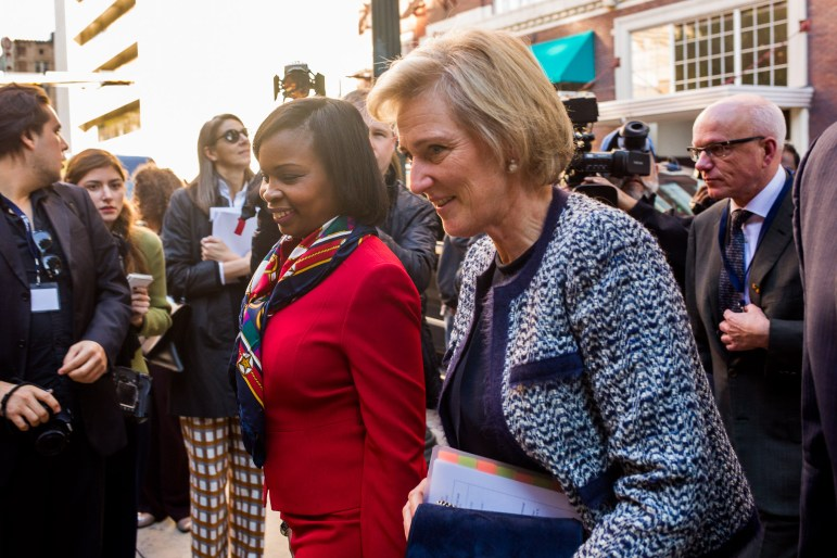 From left: Mayor Ivy Taylor and Her Royal Highness Princess Astrid of Belgium enter the International Center.