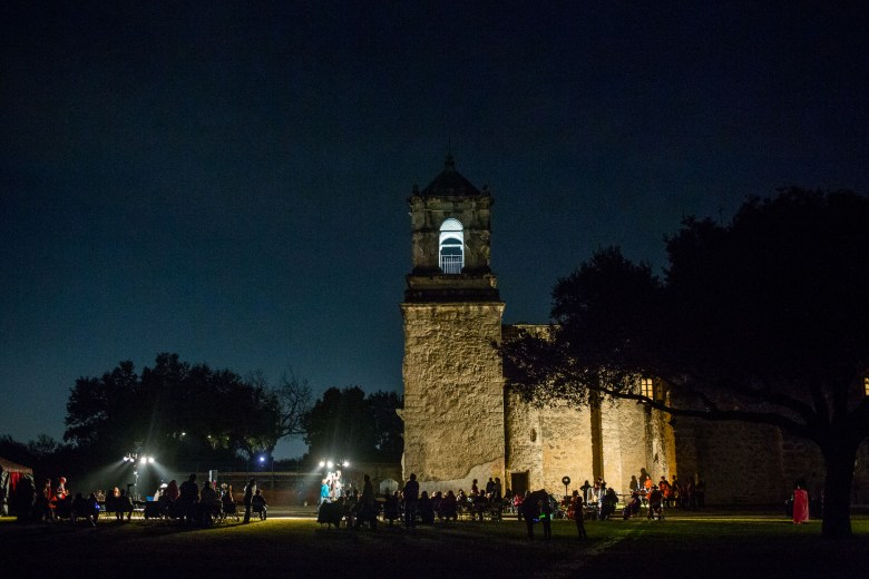 Dozens of people gathered to watch the production of Los Pastores: The Shepherds Play at Mission San José.