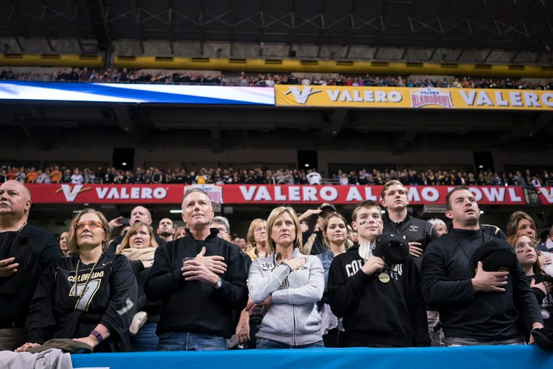 Colorado fans sing the National Anthem.