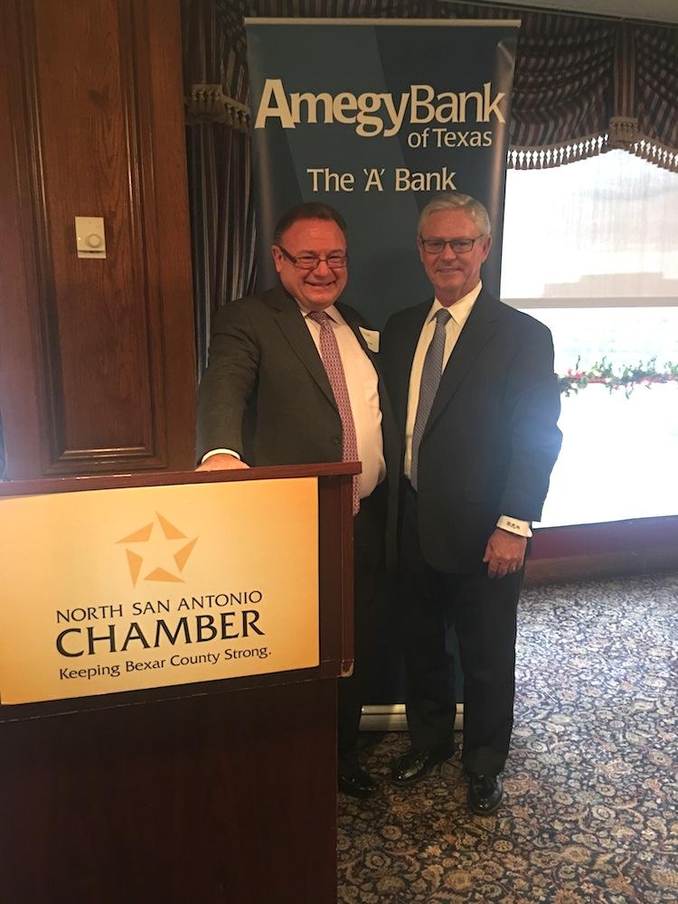 Ray Perryman and Amegy Bank CEO David McGee.