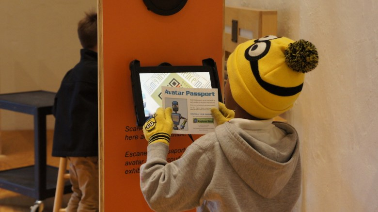 An SAISD student uses his Avatar to navigate the Hill Country Science Mill.