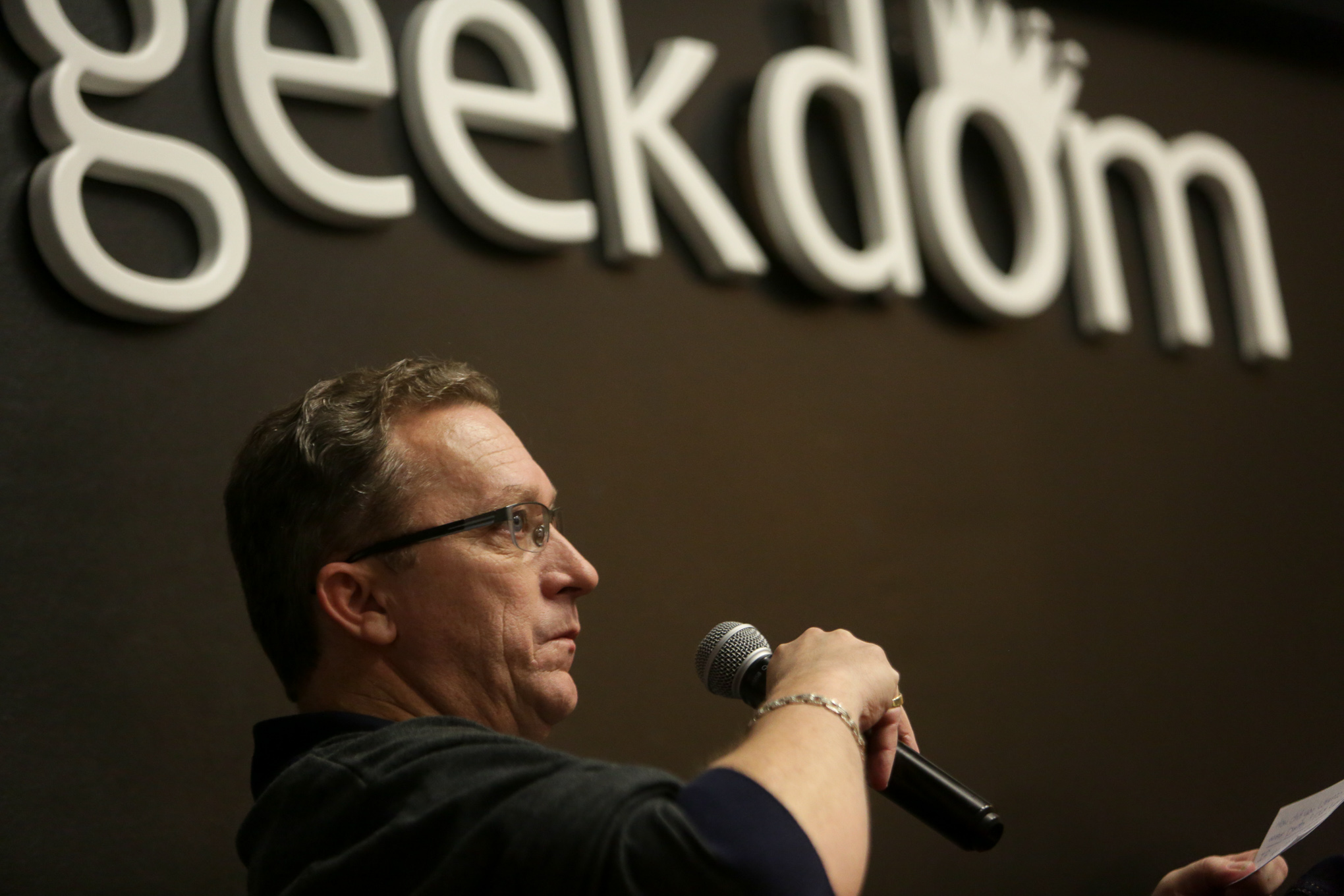 Geekdom Co-Founder Nick Longo answers questions from the audience.