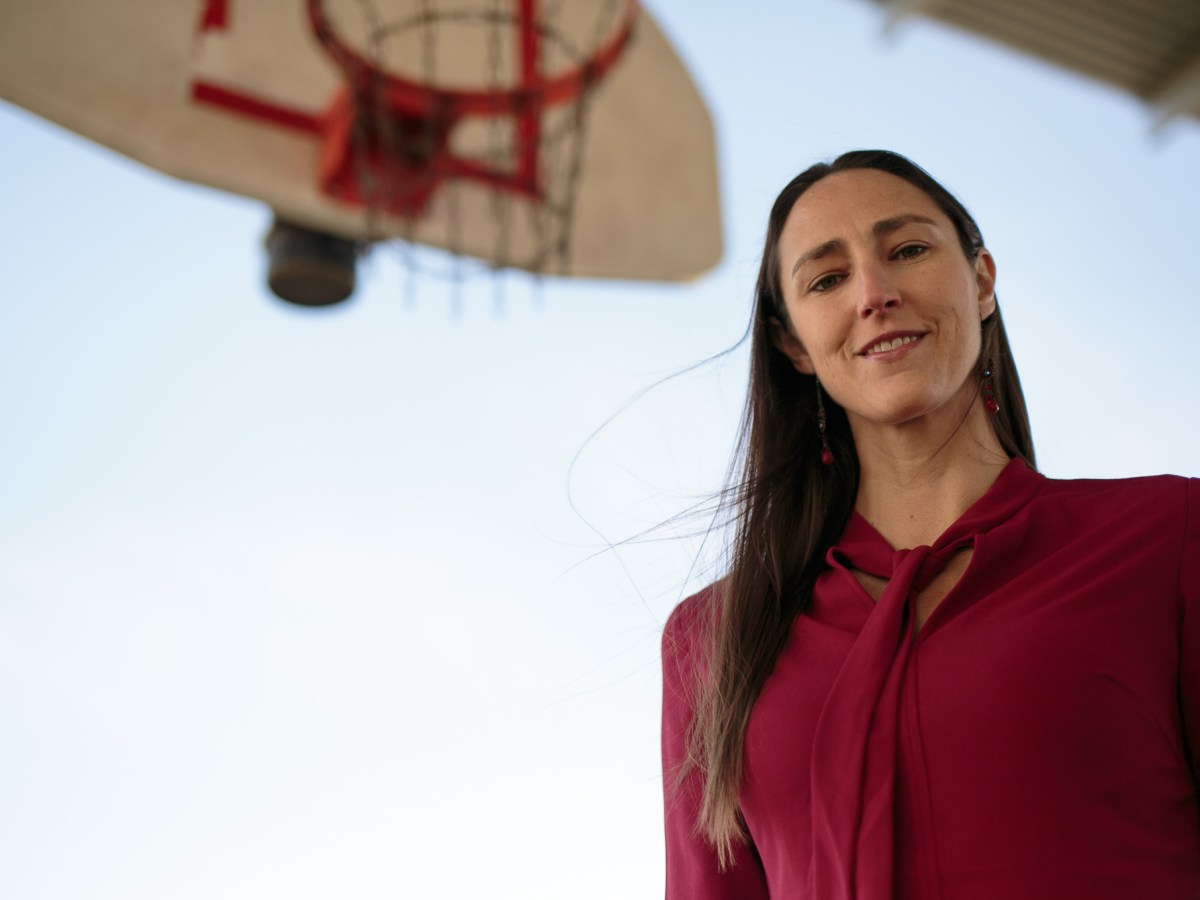 San Antonio Silver Stars General Manager Ruth Riley poses for a photo at the Lockwood Park basketball courts.