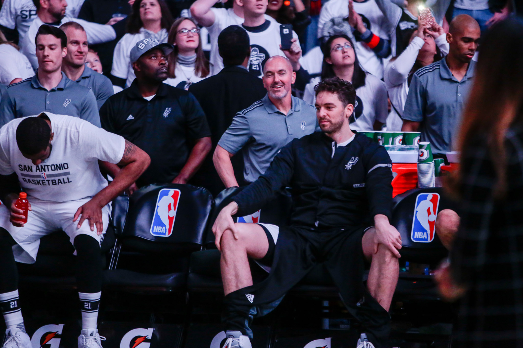 Spurs Center Pau Gasol waits to be called for the starting five introductions.