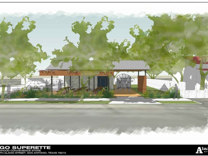 Site plan for the Sit-Go Superette at 1203 South Alamo St.