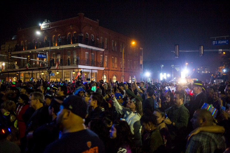 Thousands gather for Carlton Zeus performance at the Hemisfair Park main stage on South Alamo Street for New Year's Eve on December 31, 2016.
