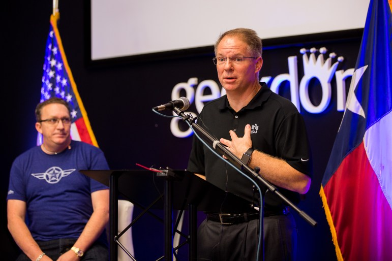 USAA Chief Technology Officer Eric Smith announces that USAA will underwrite 50% of Geekdom membership fees for military veterans, active duty military, and military spouses.