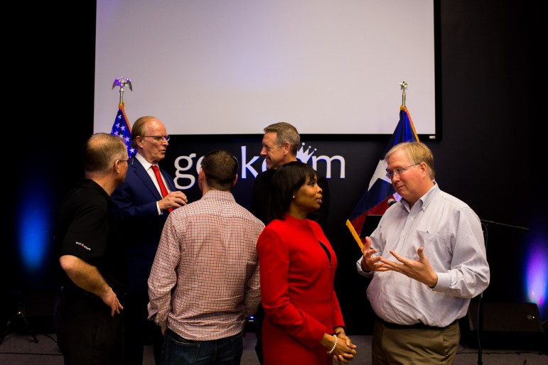 Mayor Ivy Taylor speaks with Rackspace Co-Founder and real estate mogul Graham Weston after the USAA to subsidize Geekdom's Military Membership announcement.