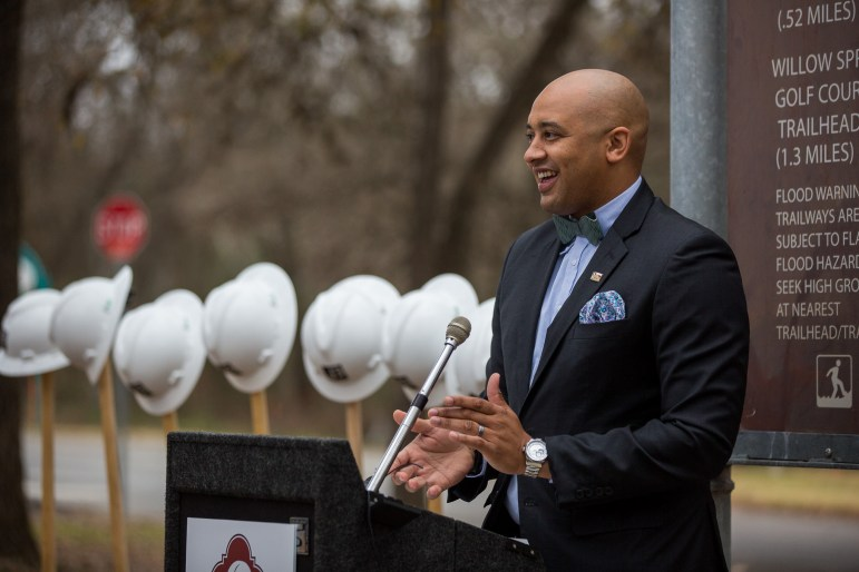 Councilman Alan Warrick (D2) announces how the MLK Park construction will providing access through the Wheatley Heights Sports Complex, increase safety with more lighting, provide flooding control.
